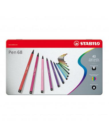STABILO Pen 68 in Metalen Doos, 40kl.
