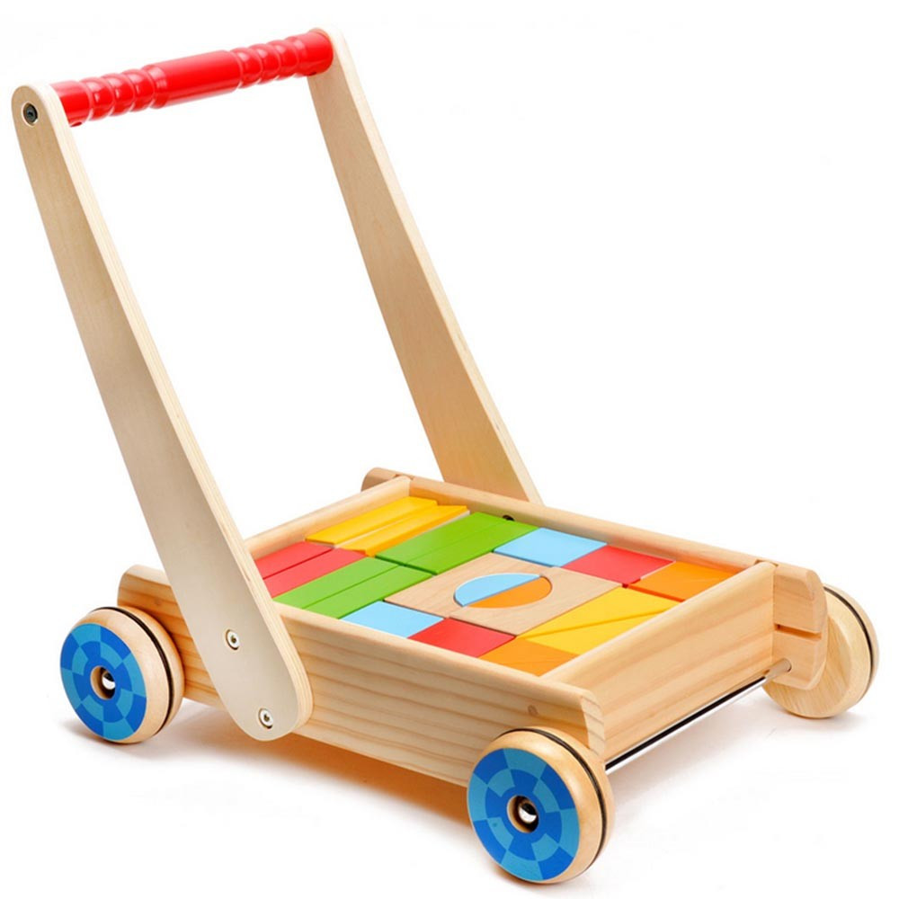 Loopwagen met gekleurde blokken