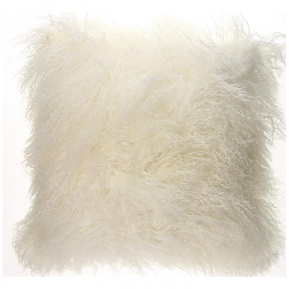 Kussen Lamsvacht Gebroken Wit, 40 cm