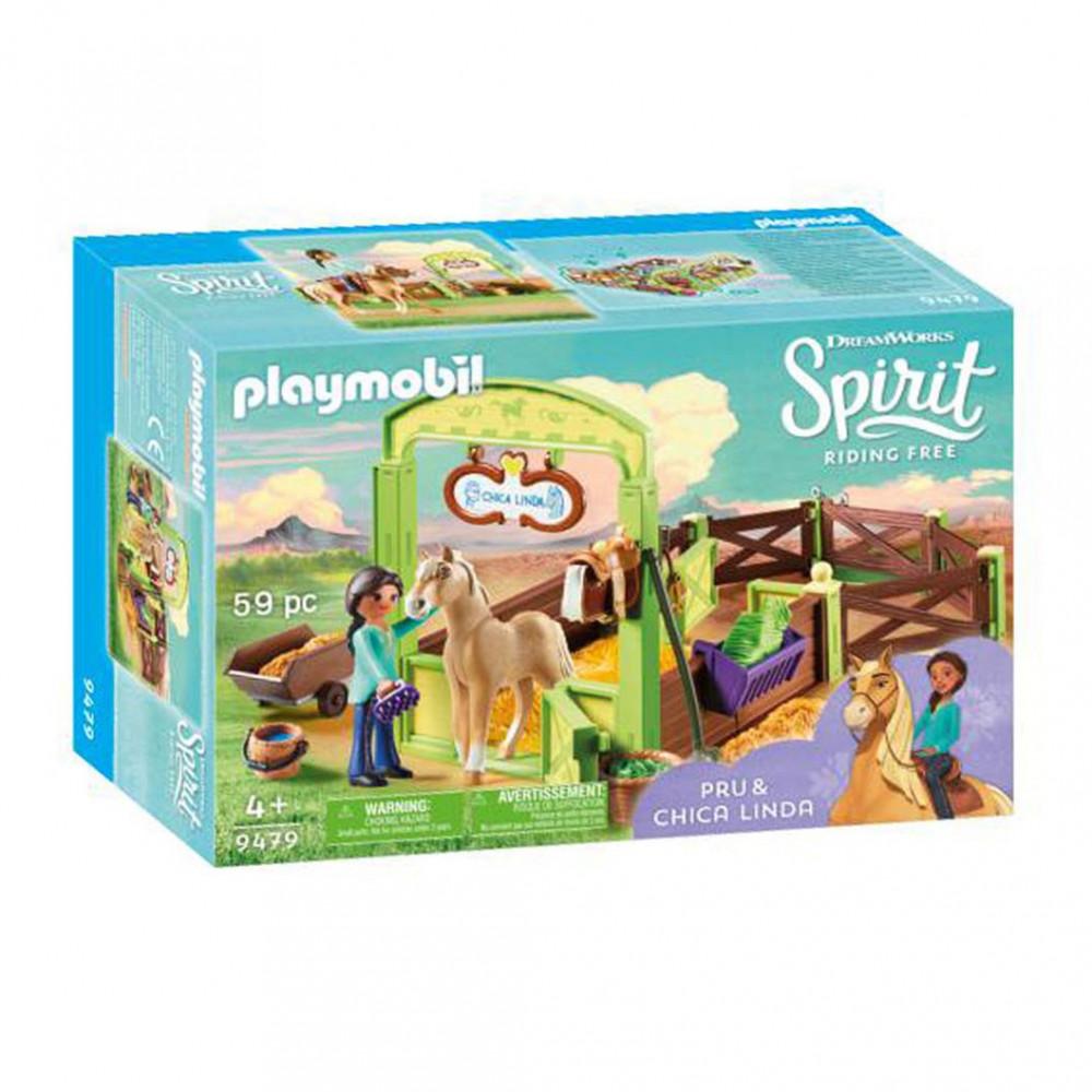 Playmobil Spirit 9479 Pru & Chica Linda met Paardenbox