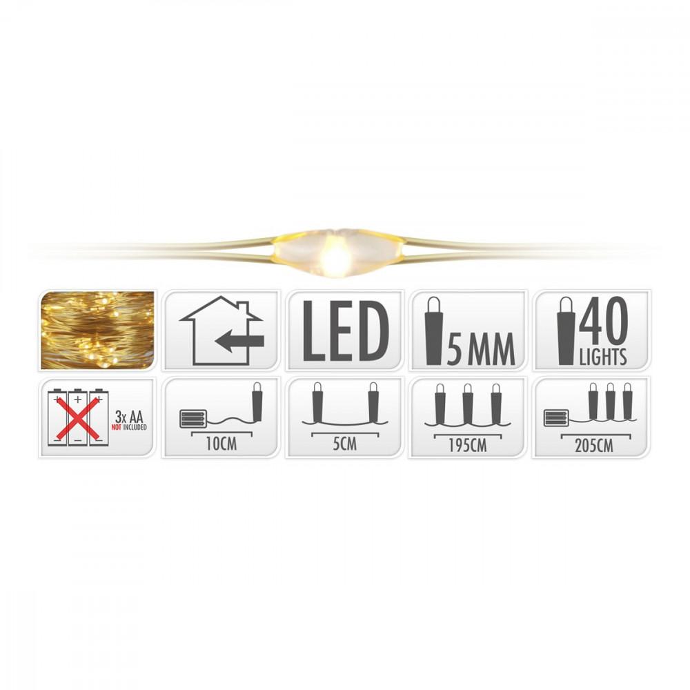 Gouddraad met 40 LED Lampjes