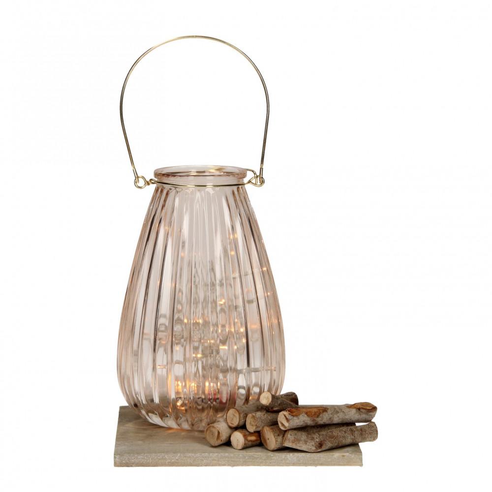 Lantaarn met LED Verlichting - Beige, 21cm