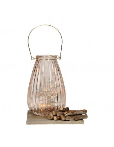 Lantaarn met LED Verlichting - Beige,...
