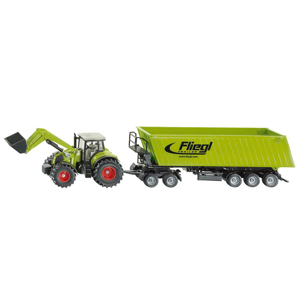 Siku Tractor met Frontlader, Dolly en Kiepwagen 1:50