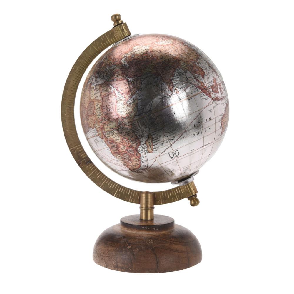 Wereldbol op Voet Metallic, 12,5cm