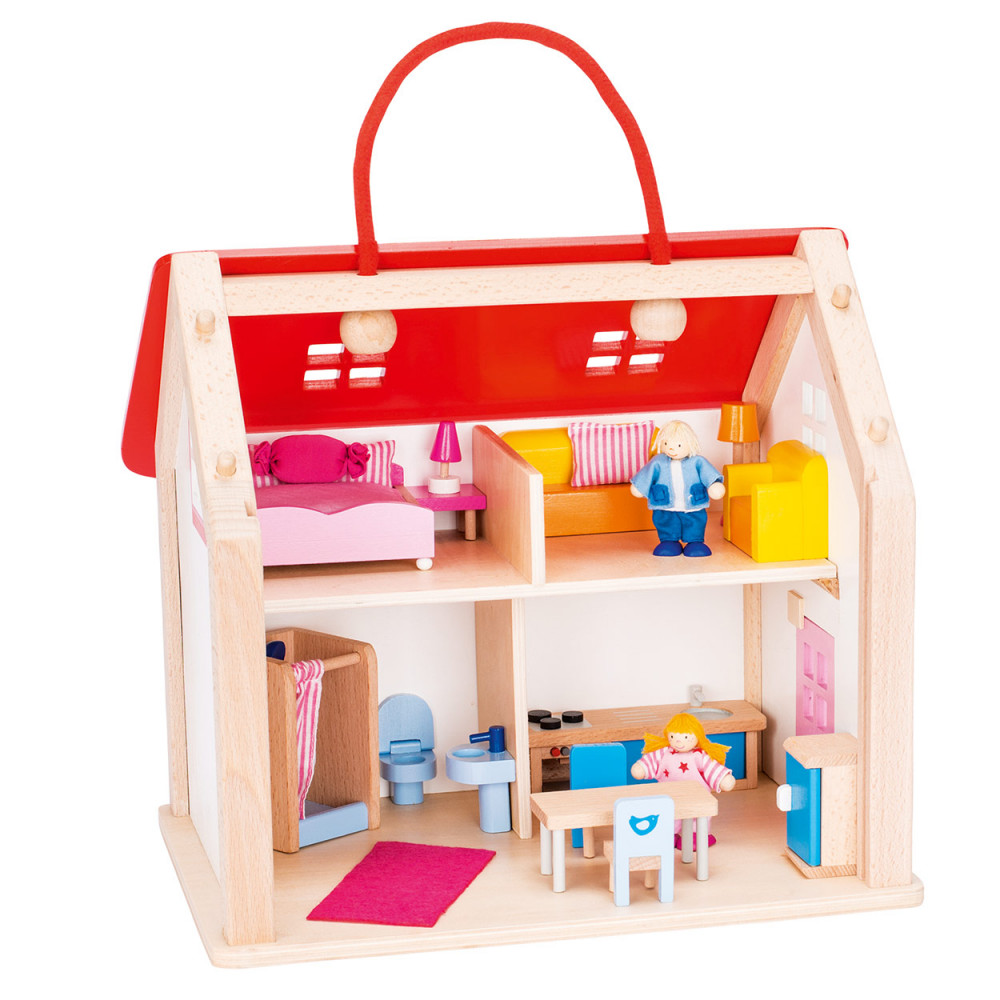 houten poppenhuis koffer met accessoires online kopen. Black Bedroom Furniture Sets. Home Design Ideas