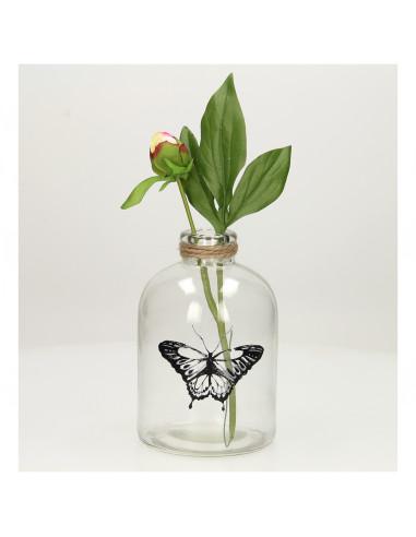 Glazen Fles met Vlinder, 17,5cm