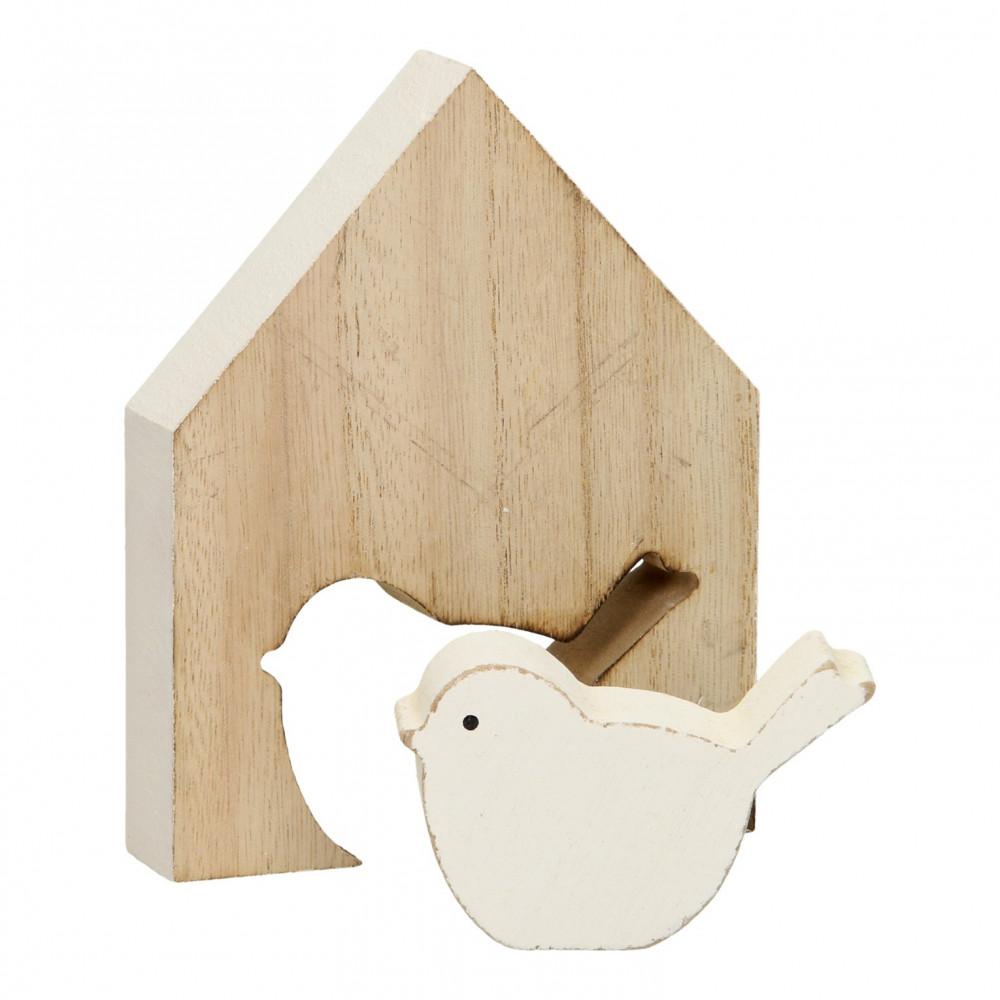 Houten Huisje met Vogel, 14cm