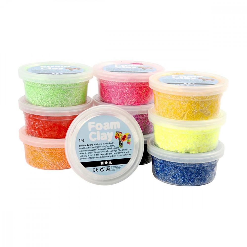 Foam Klei - Basiskleuren, 10x35gr