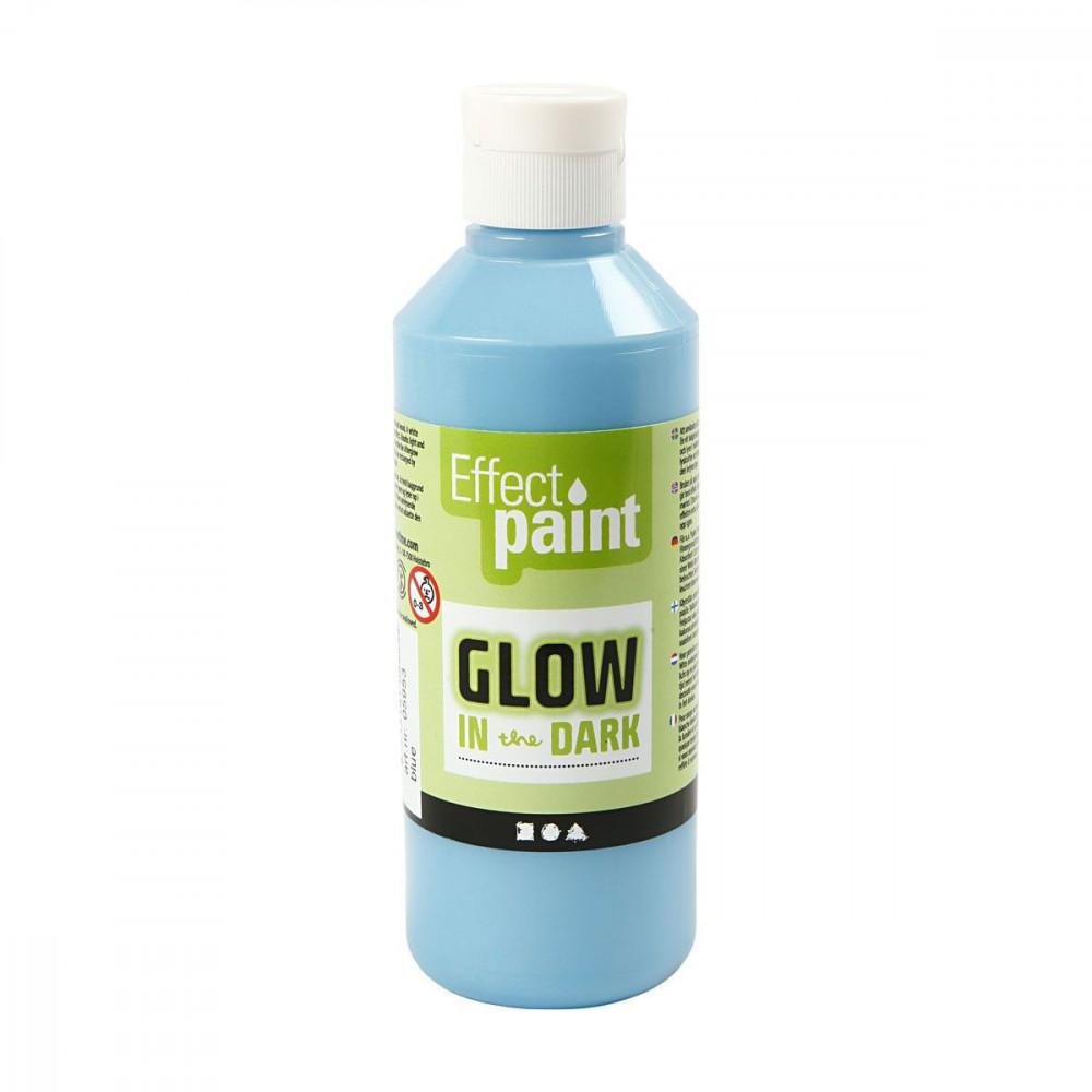 Glow in the Dark Verf - Lichtblauw, 250ml