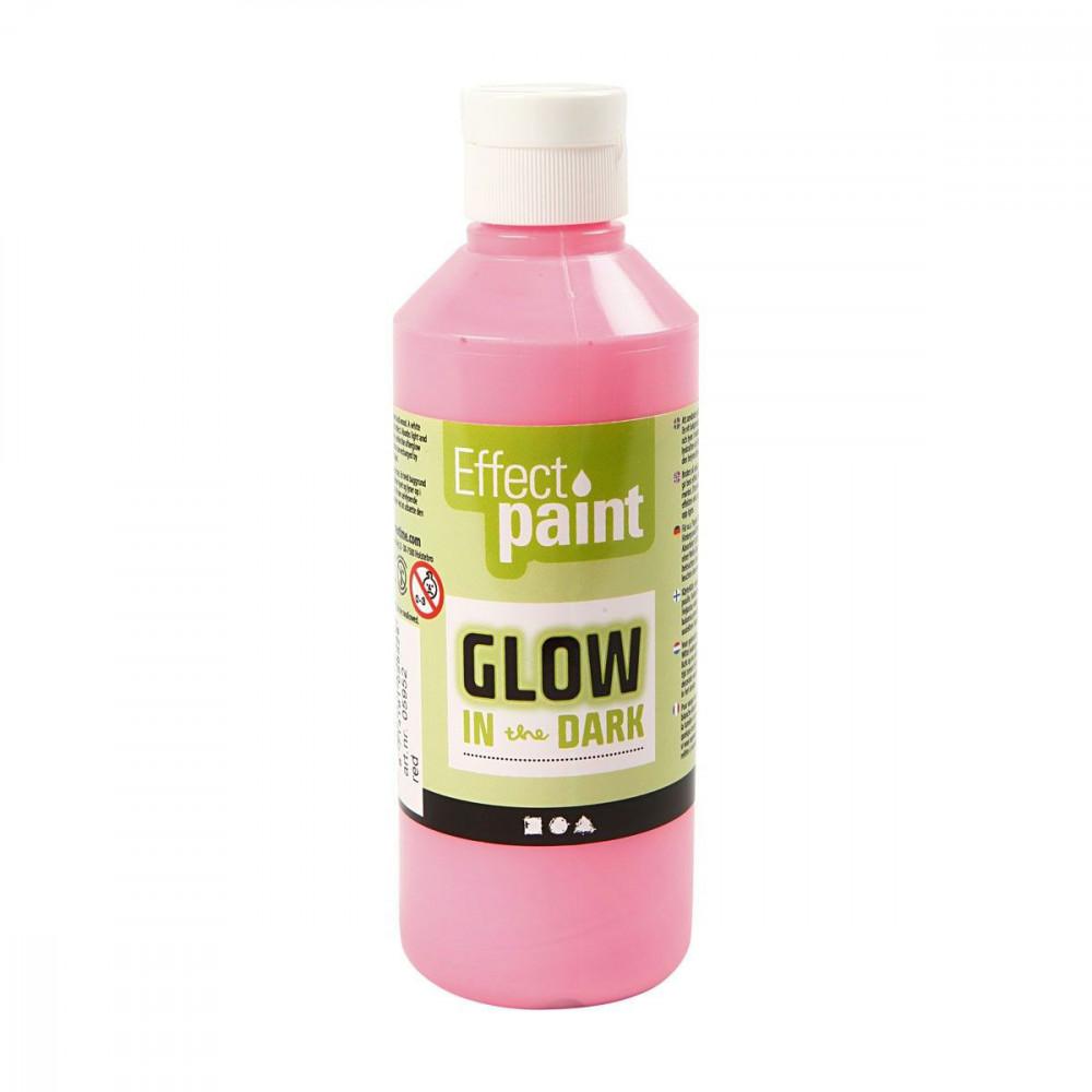 Glow in the Dark Verf - Lichtrood, 250ml