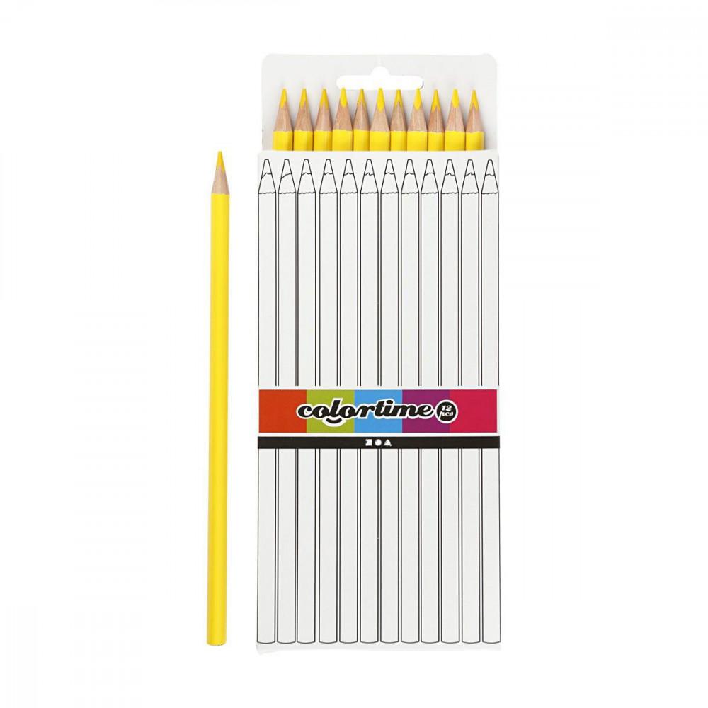 Driehoekige Kleurpotloden - Geel, 12st.