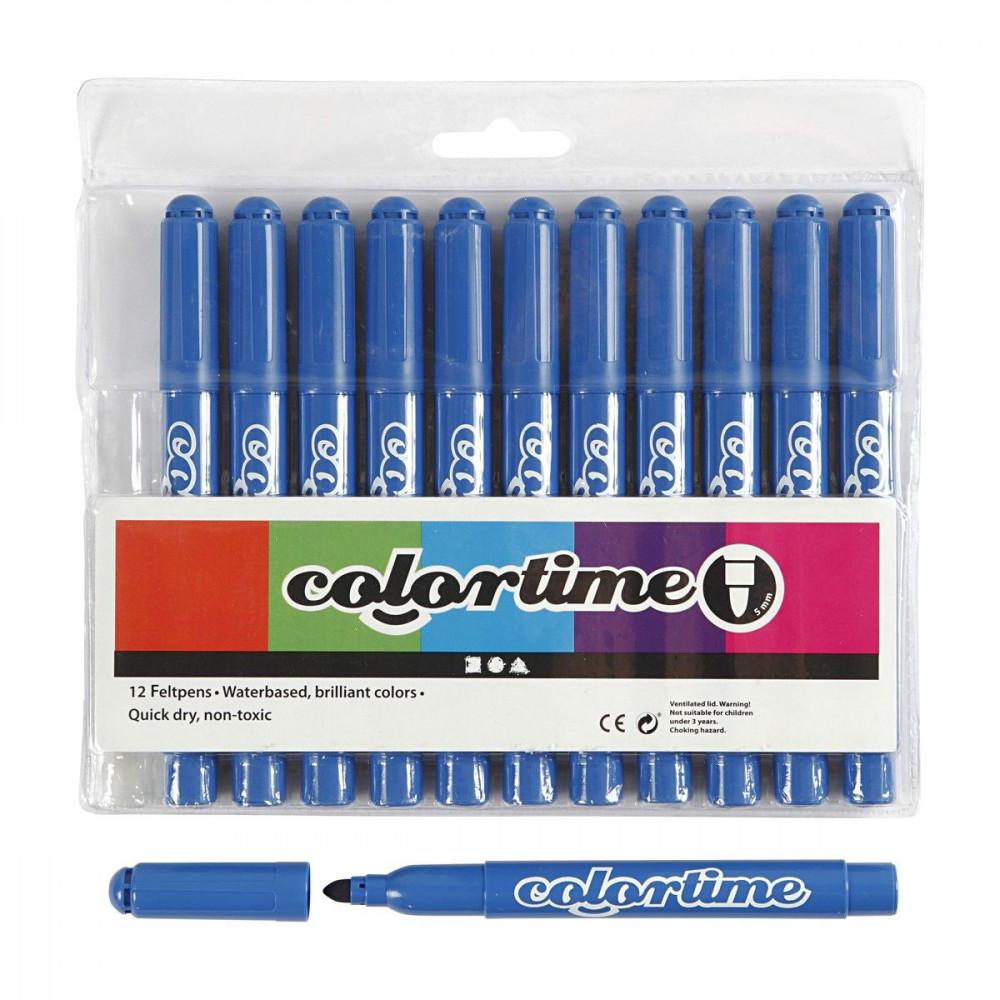 Azuurblauwe Jumbo Stiften, 12st.