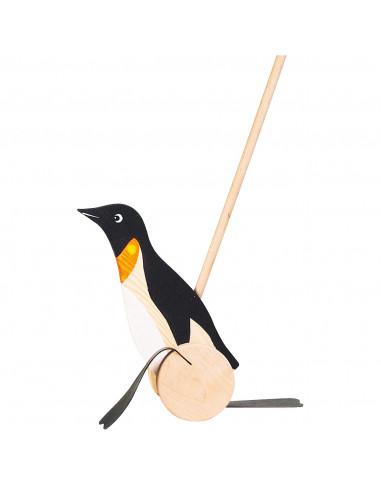 Houten Duwfiguur Pinguin