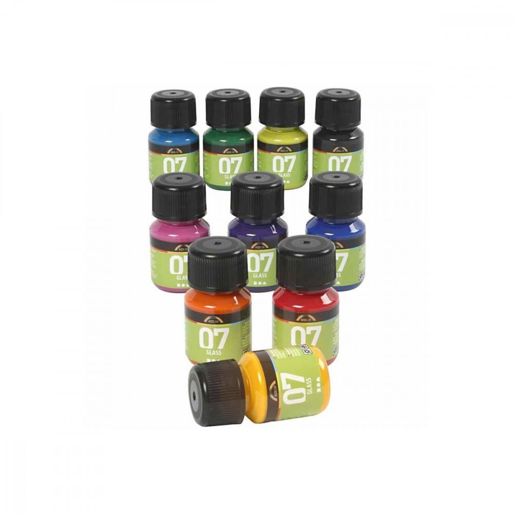 Permanente Glasverf - Set van 10 Kleuren, 30ml