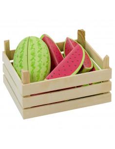 Houten Meloenen in Kist, 12dlg.