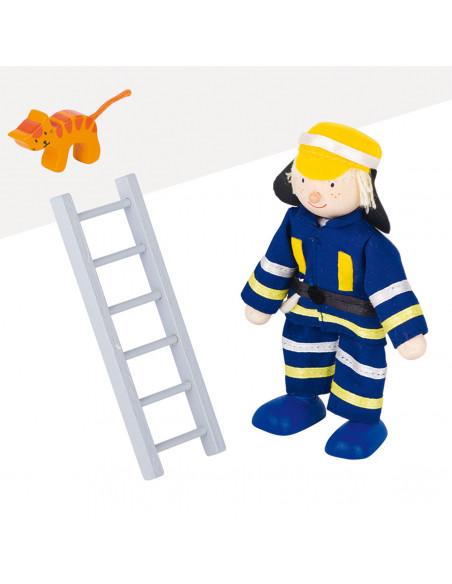 Poppenhuispop Brandweerman met Ladder