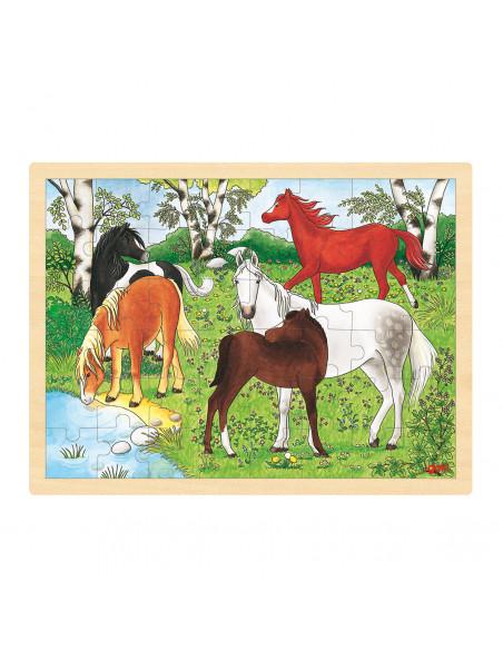 Houten Legpuzzel - Paarden, 48st.