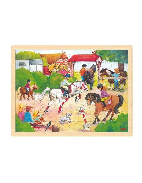 Houten Legpuzzel - Paardenwedstrijd, 96st.