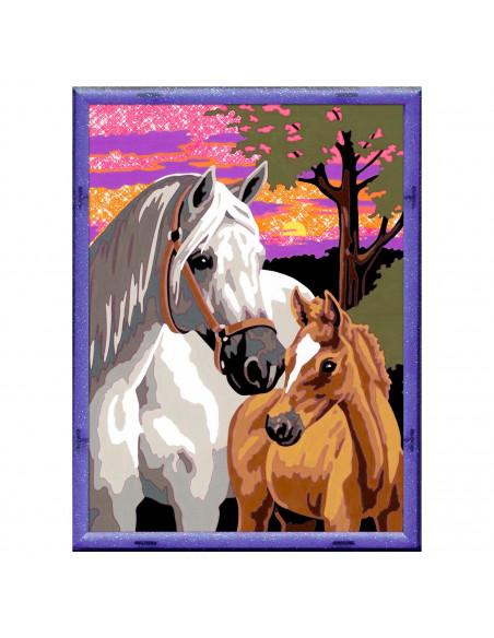 Schilderen op Nummer - Paarden in de Zonsondergang