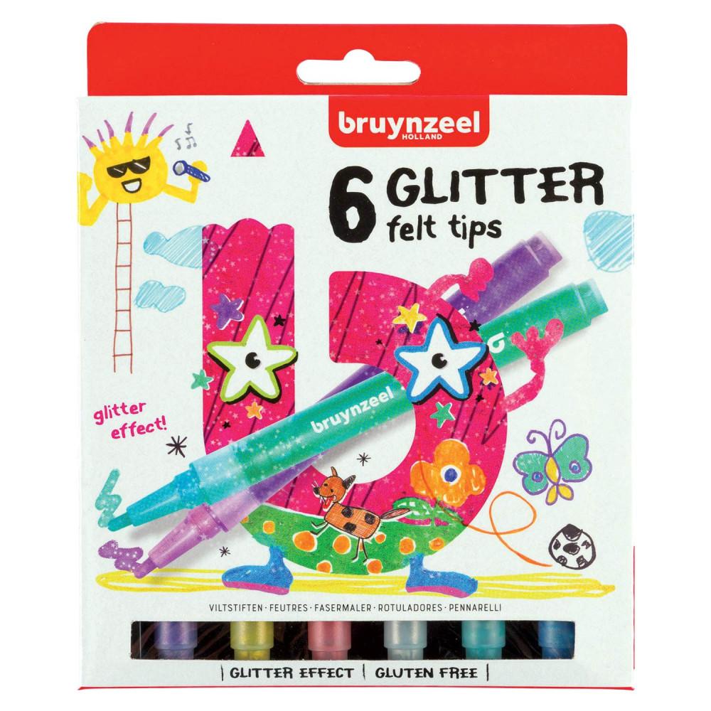 Bruynzeel Kids Glitter Viltstiften, 6st.