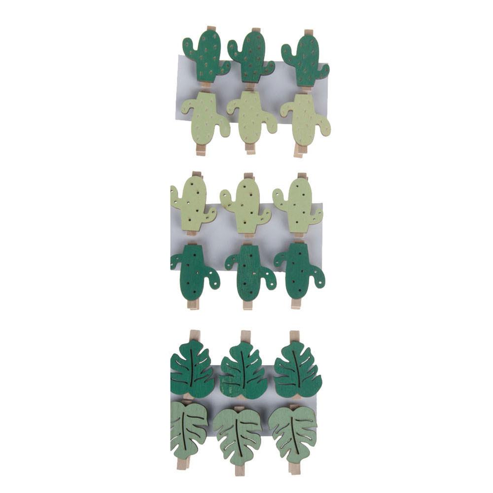 Knijperset met Cactus of Blad, 6st.