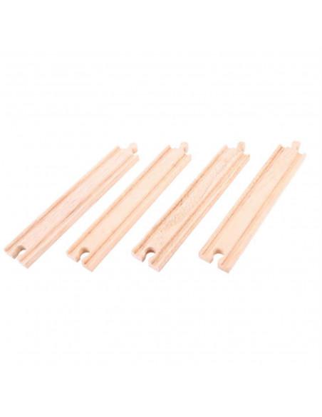 BigJigs houten Rails Recht Lang (4 stuks)