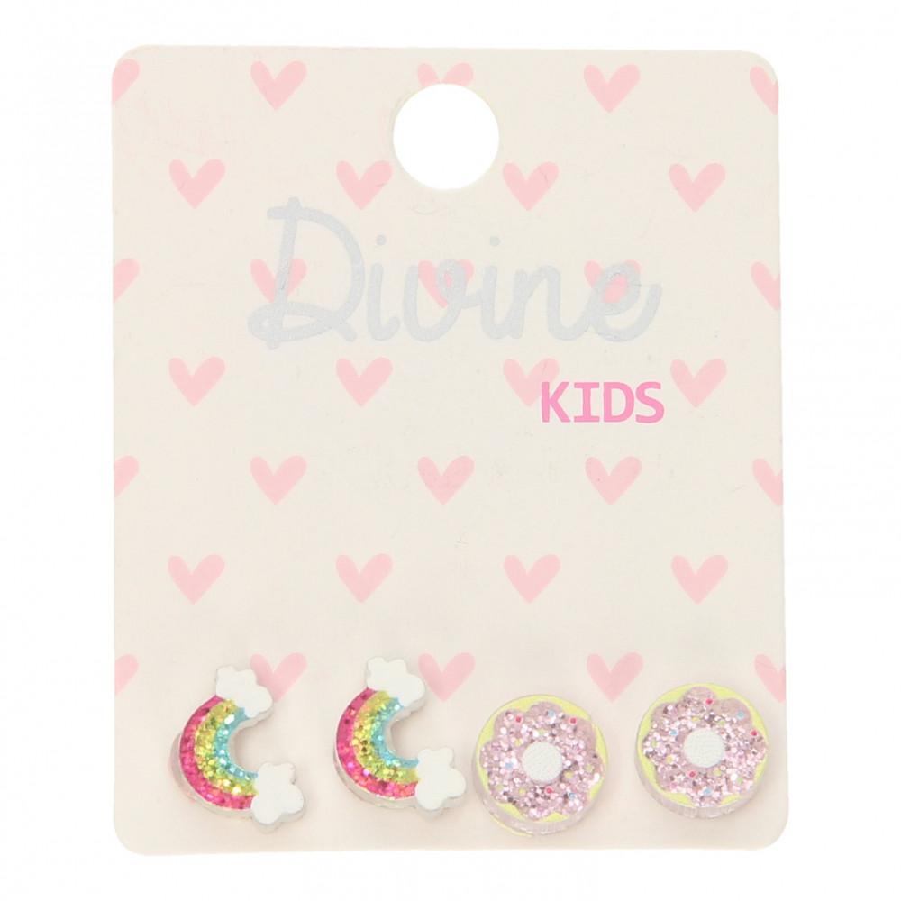 Kinder Oorknopjes Donut en Regenboog, 2 paar