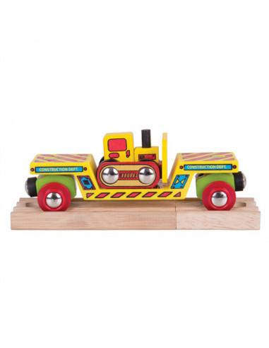 BigJigs Houten Wagon met Bulldozer