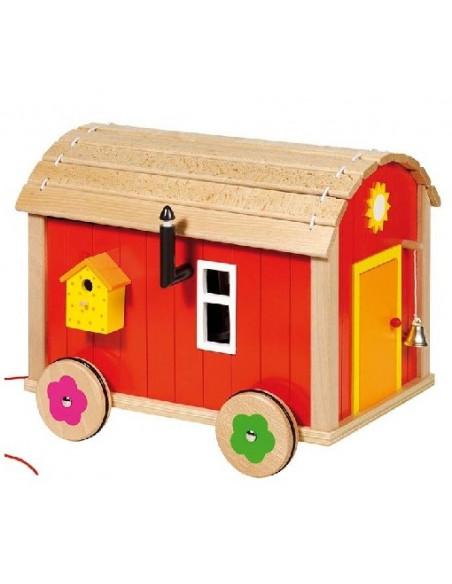 Goki houten mobiele bouwwagen poppenhuis
