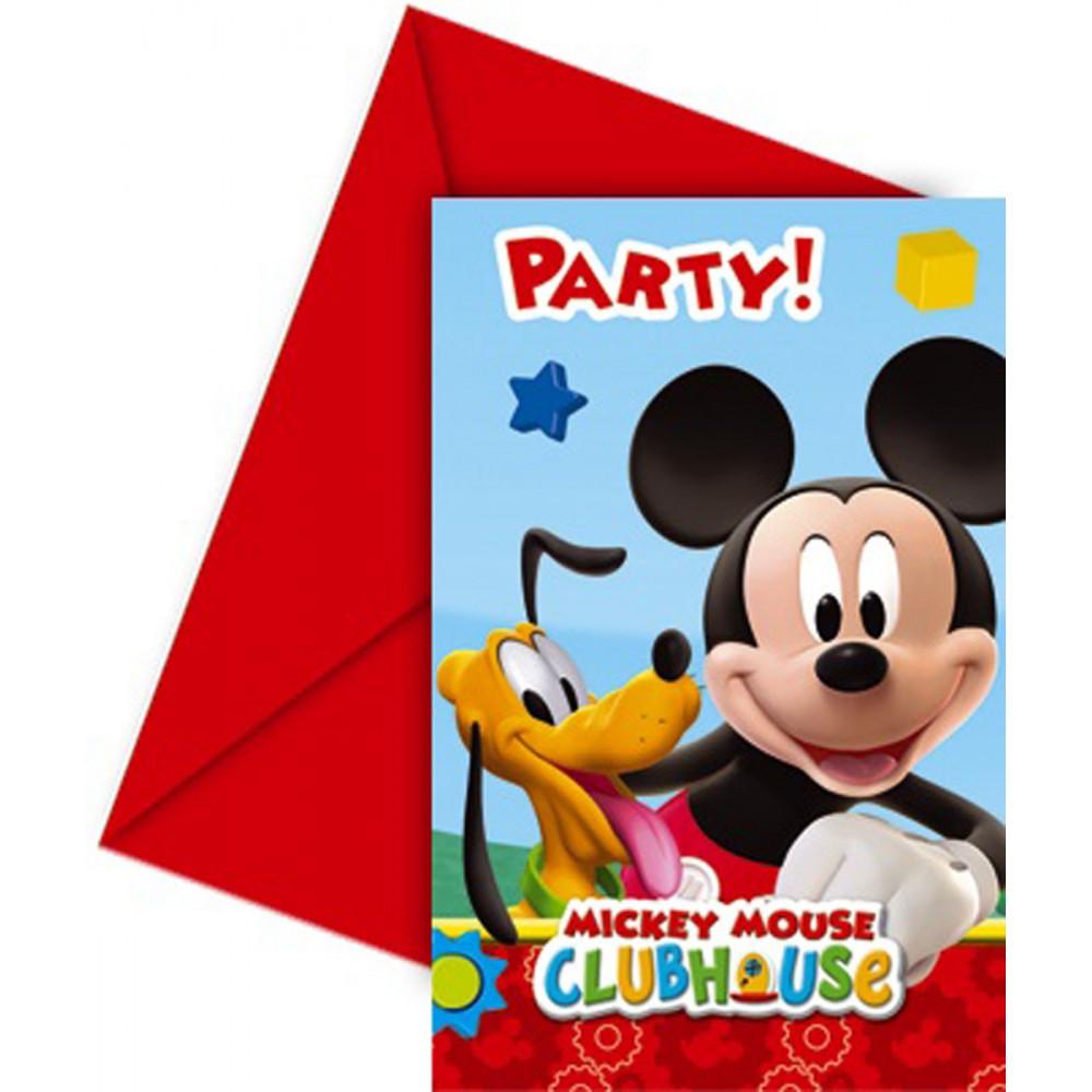 Uitnodigingen Mickey Mouse: 6 stuks (81513P) BT