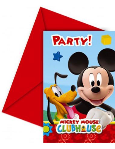 Uitnodigingen Mickey Mouse: 6 stuks...