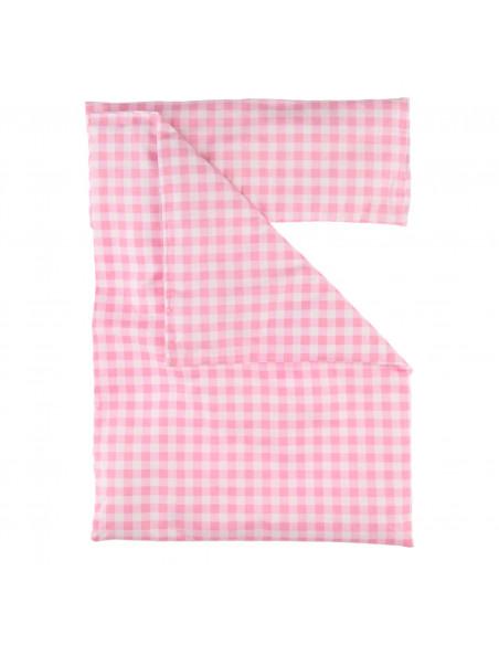 Poppendekbed en Kussentje - Roze Geruit
