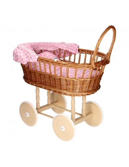 Poppenwagen met Kussentjes - Geruit Roze