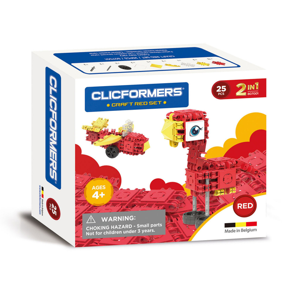 Clicformers Craft Set Rood, 25dlg.