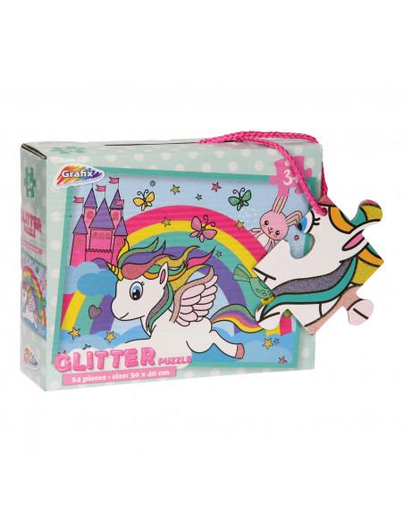 Glitter Puzzel Eenhoorn, 24st.