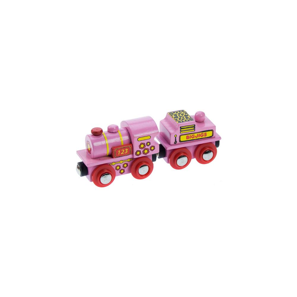 BigJigs houten Locomotief Roze met Tender