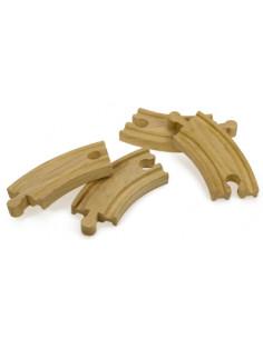 BigJigs houten Rails Bochten Kort (4 stuks)