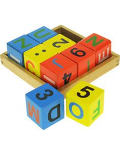 BigJigs houten Tray met 9 ABC blokken 12+ mnd