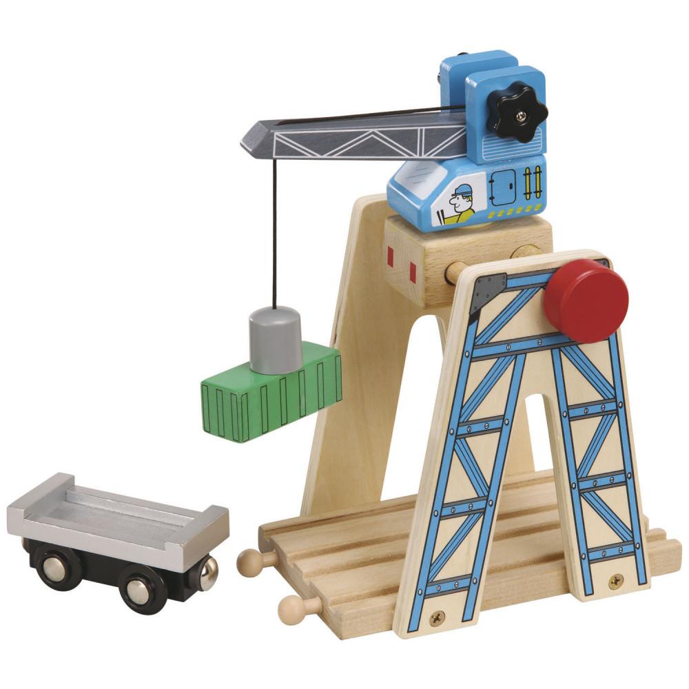 Houten Rails Laadkraan met Container