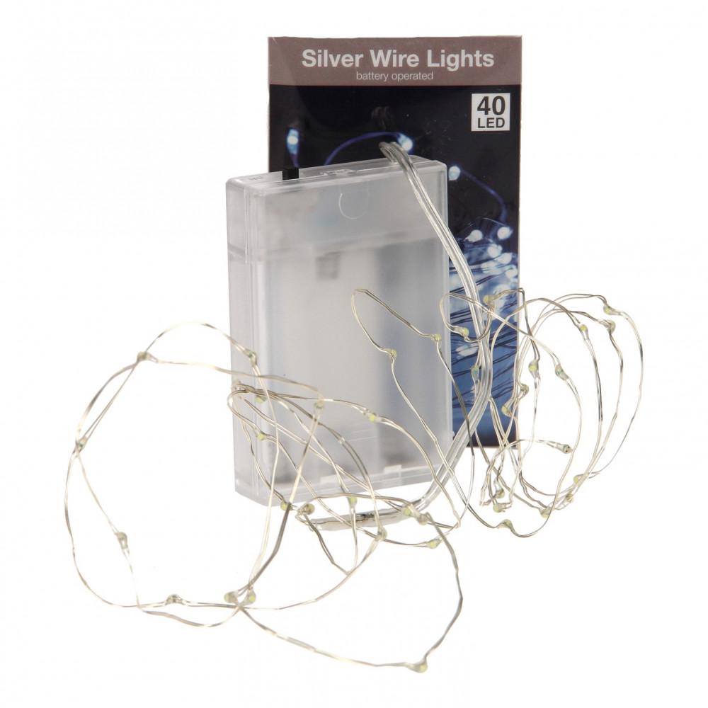 Zilverdraad met 40 LED Lampjes Wit