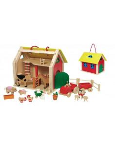 Goki Houten Koffer met Boerderij poppenhuis