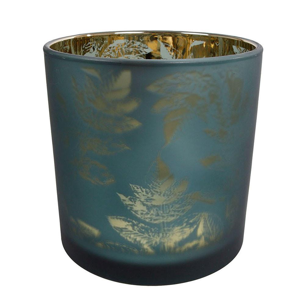 Waxinelichthouder Evita Bladpatroon Petrol/Zilver, 8cm BT