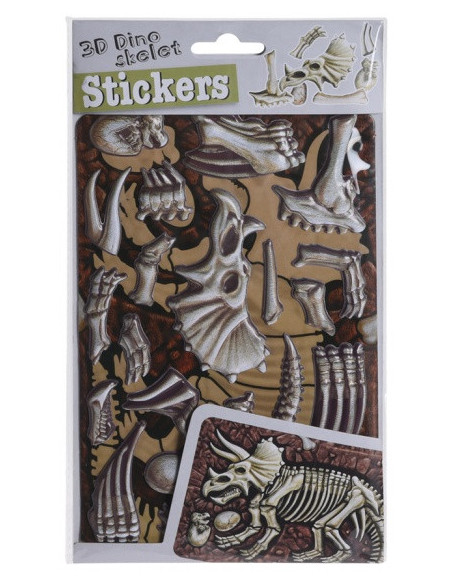 3D-Stickers Skelet - Triseratops Rood