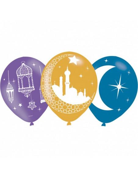 Ballonnen ''Eid Mubarak'' Suikerfeest 27,5 Cm 6 Stuks