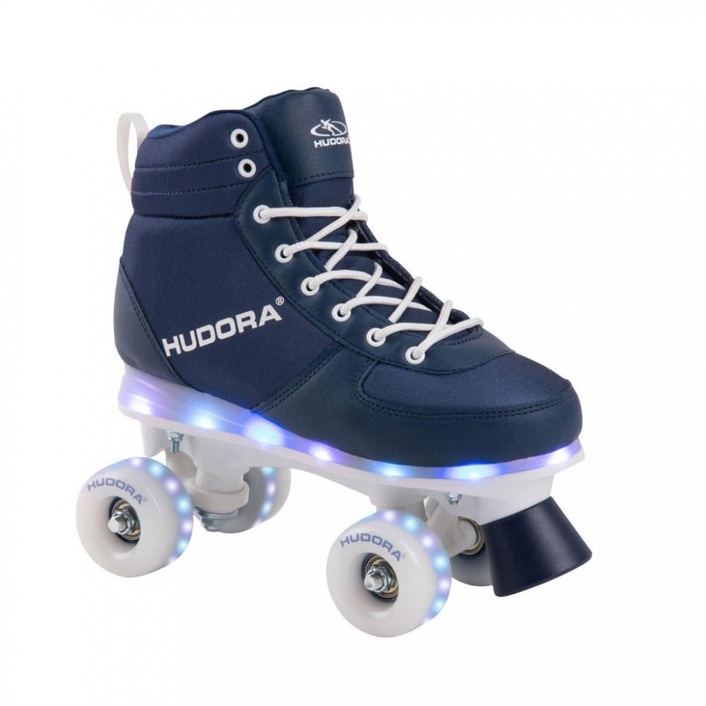 Hudora Rolschaatsen Blauw met LED, Maat 29-30