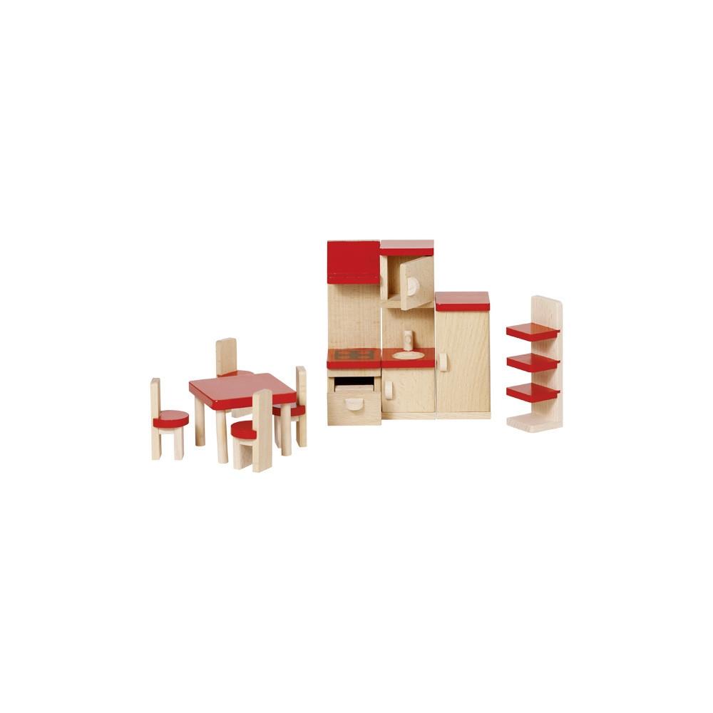 Goki houten poppenhuis meubel keuken 9 delig online for Meubels poppenhuis