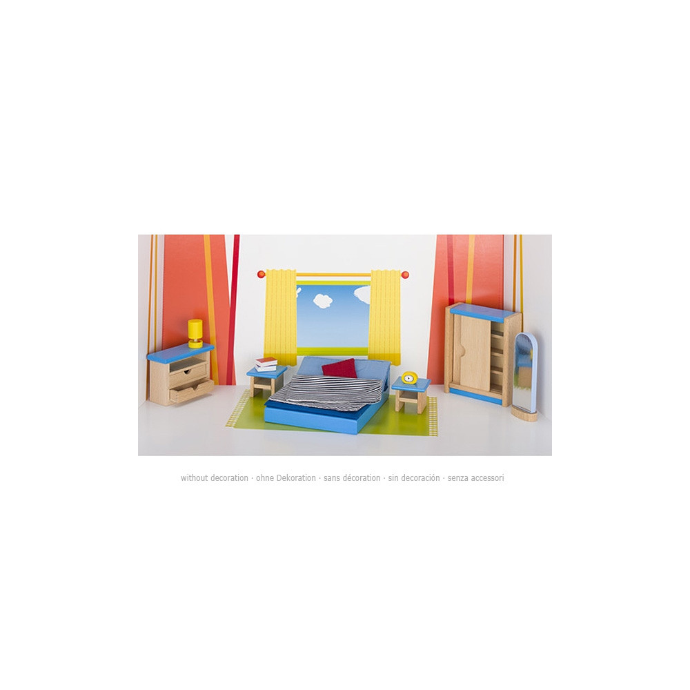 Goki houten poppenhuismeubel slaapkamer 14 delig online kopen - Slaapkamer houten ...