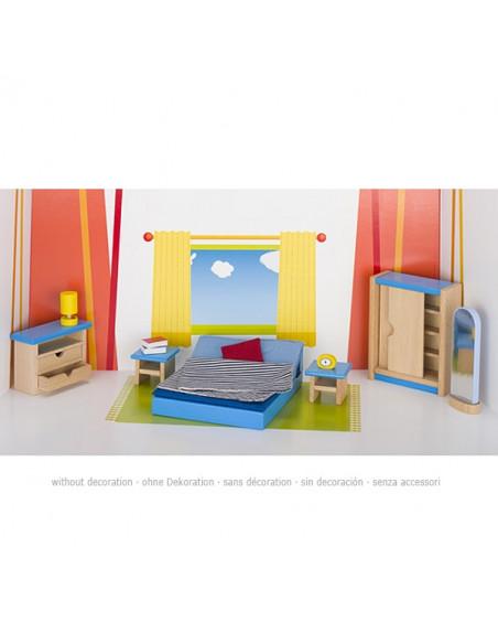 Goki Houten Poppenhuismeubel Slaapkamer - 14 delig