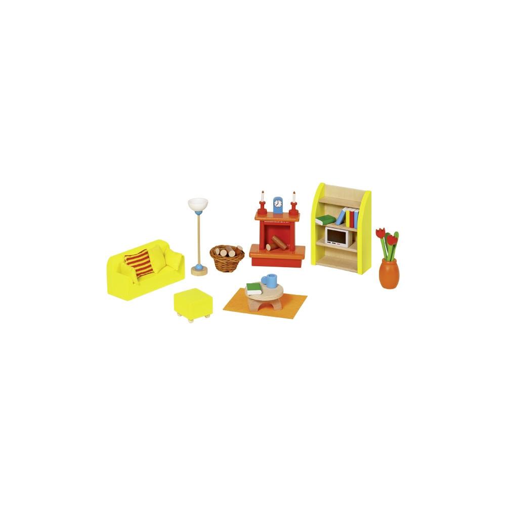 Goki Houten poppenhuis meubel woonkamer - 24 delig